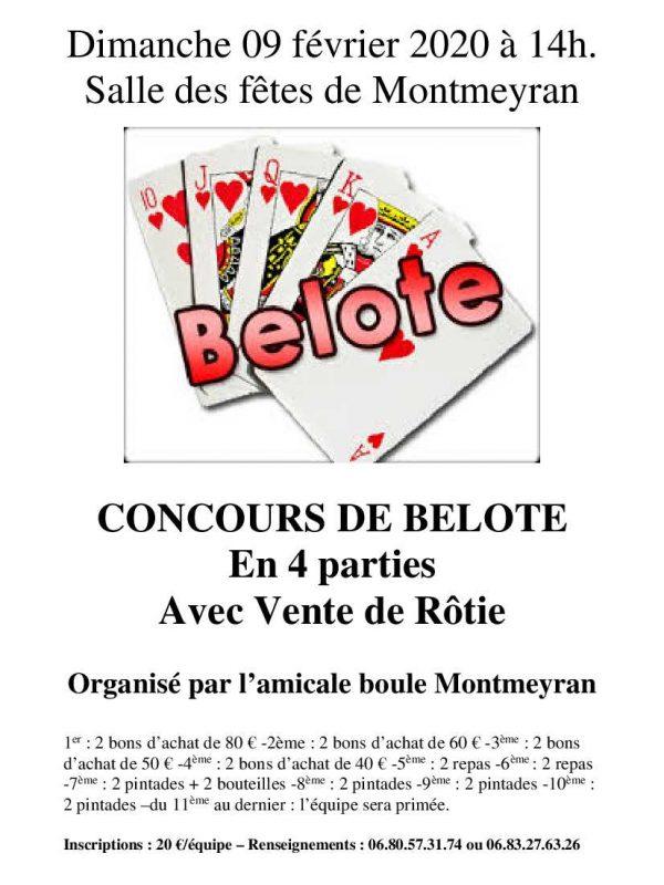 affiche Concours belote des boules 09 02 2020