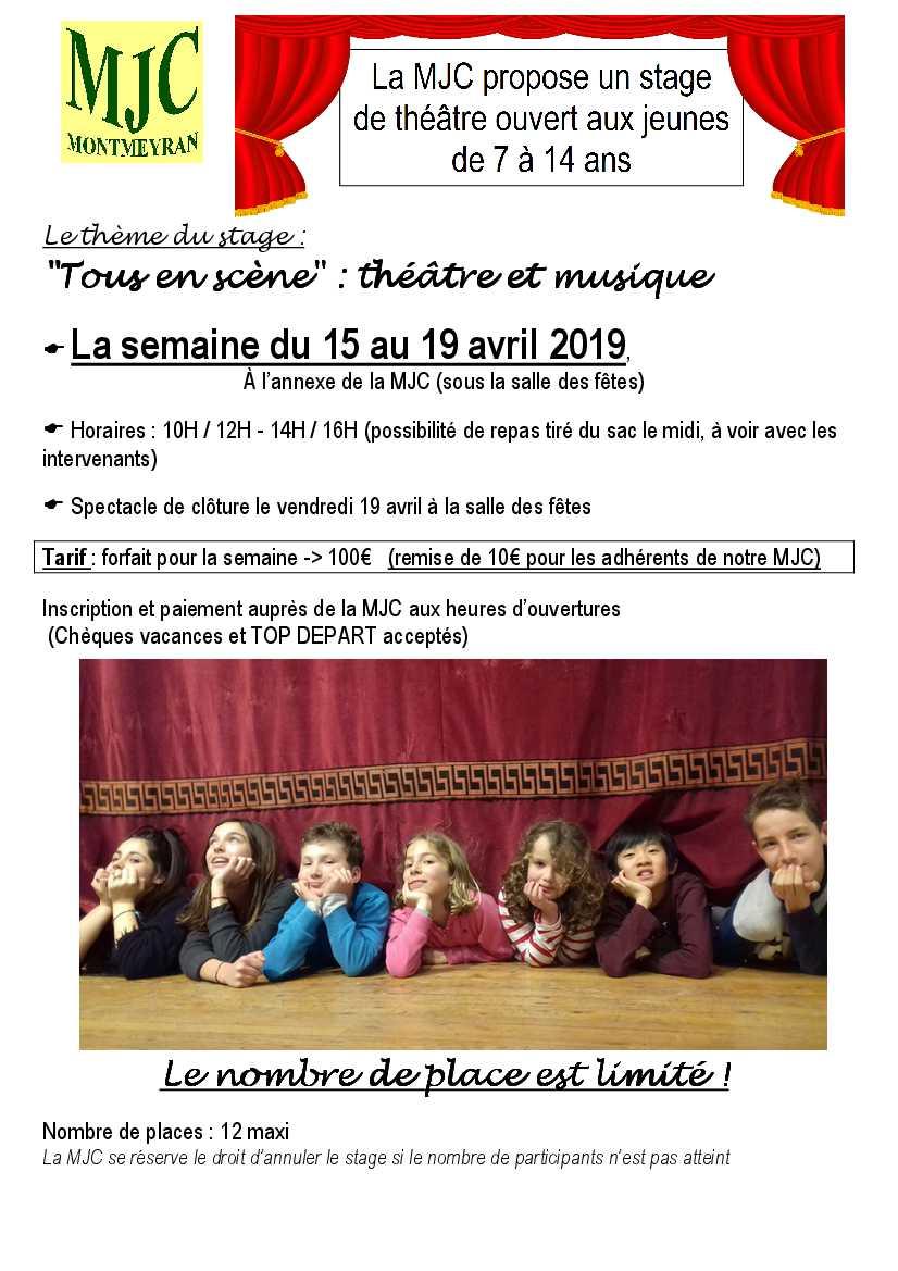 La MJC propose un stage de théâtre en avril ouvert aux jeunes de 7 à 14 ans