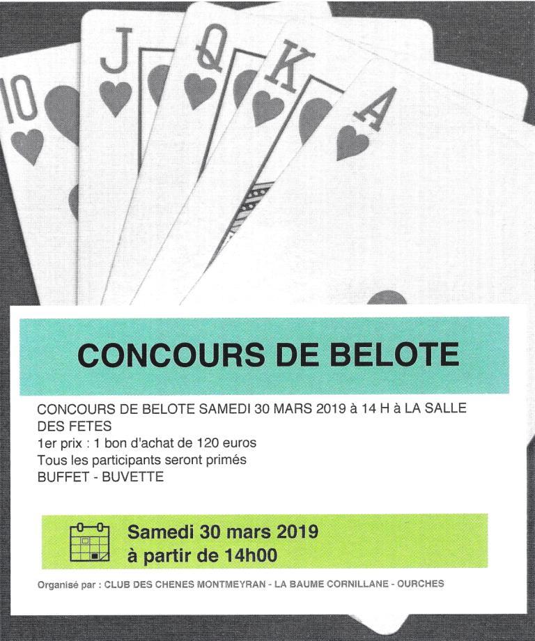 concours de belote 2019 Club des Chênes