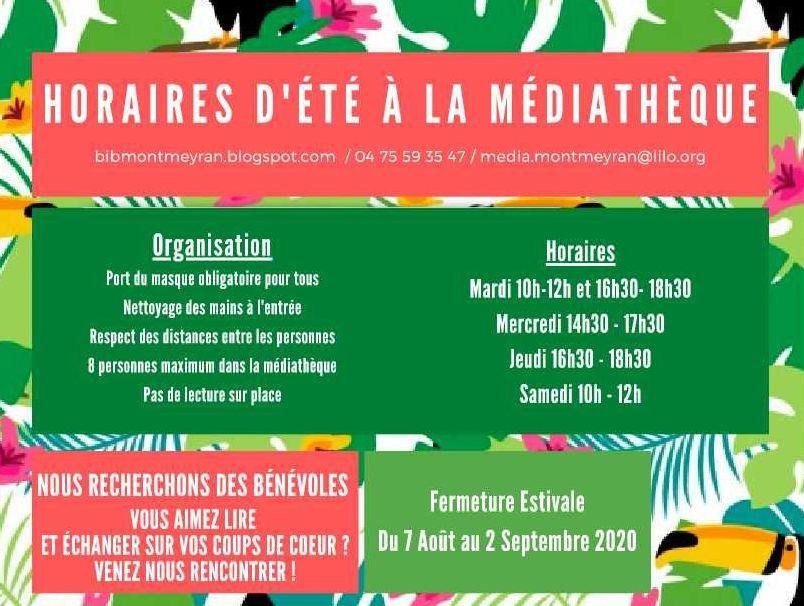 Réouverture de la Médiathèque le 6 juillet - Horaires d'été médiathèque