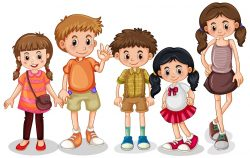 Set of young children character illustration