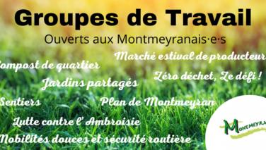 Groupes de travail ouverts aux Montmeyranais·es